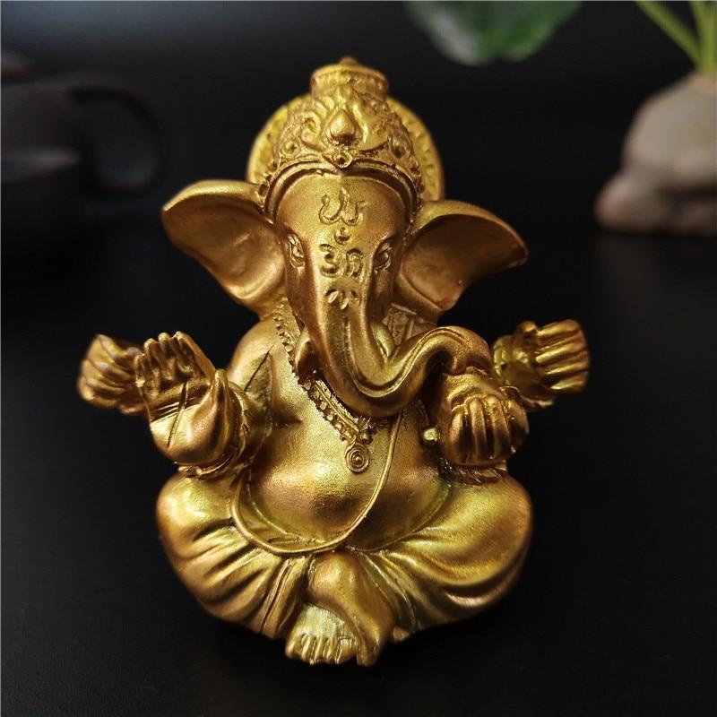 Gold Herr Ganesha Buddha Statue Elefanten Gott Skulpturen Ganesh Figuren Menschen Verursachten Stein Home Garten Buddha Dekoration Statuen