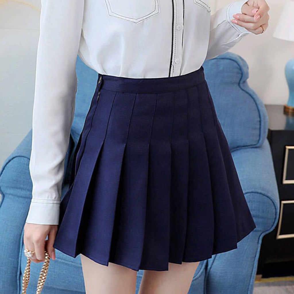 2019 estilo coreano cor sólida saia de cintura alta plus size harajuku mulheres mini saias senhoras sexy saia branca verão mujer *