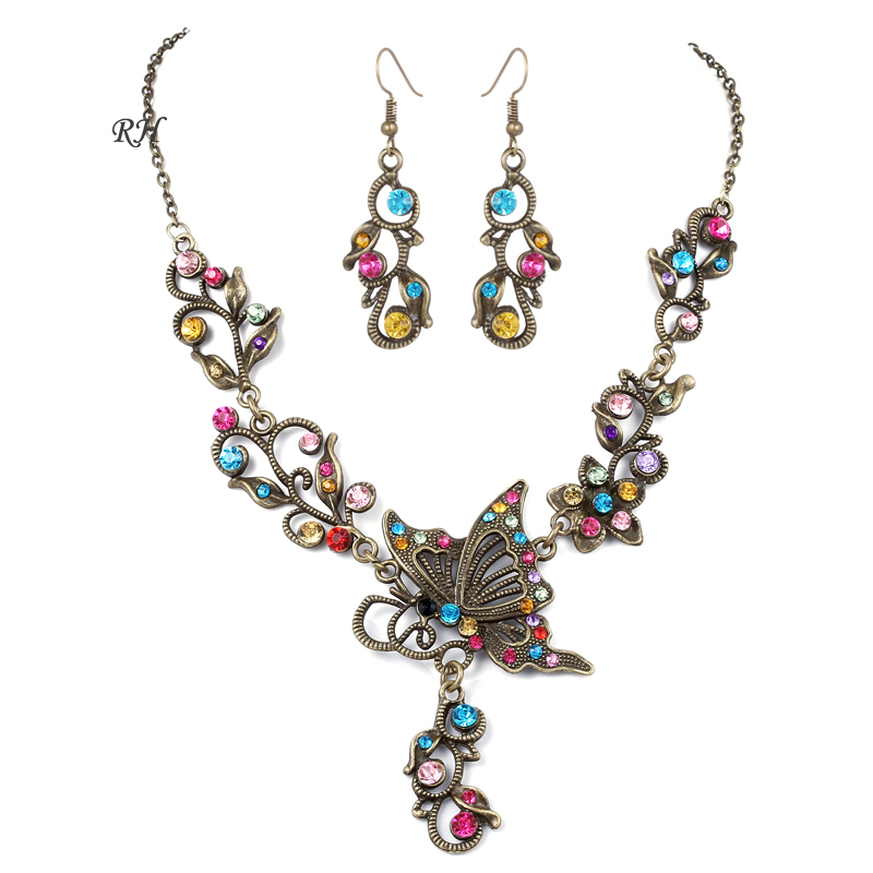 Vintage Copper Crystal Butterfly Jewelry Set Earring Necklace For Women Wedding Party Jewelry Accessories Flower Necklace