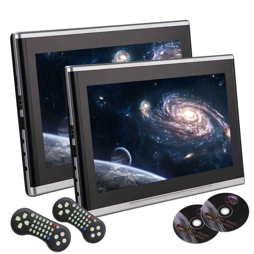 Пара eincar 10.1 дюймов черный Автомобильный DVD/USB/SD/подголовник видео плеер ЖК-дисплей Мониторы двойной экран dvd-плеер заднего сиденья Развлечен...