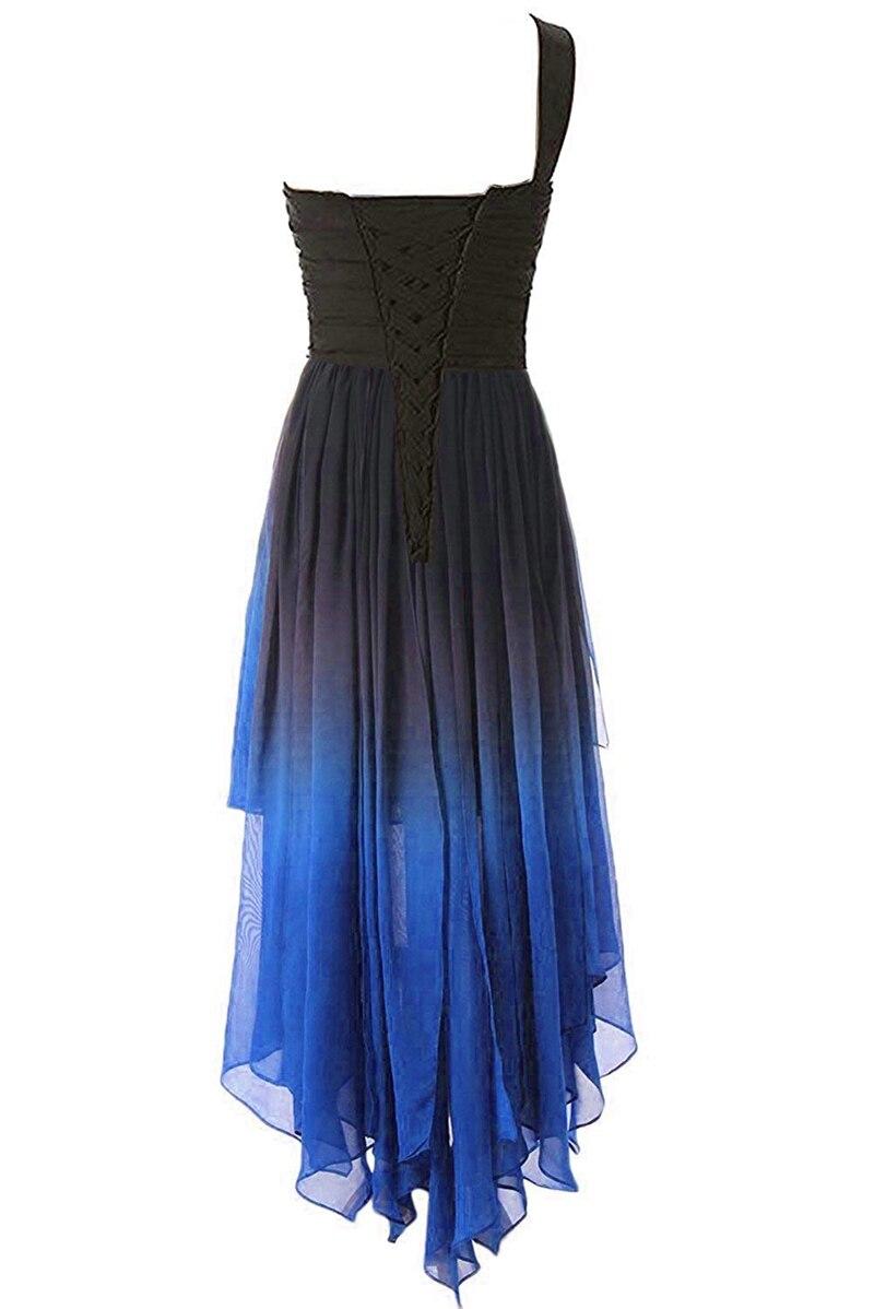 JaneVini mode 2019 haut bas dégradé en mousseline de soie longue robes de demoiselle d'honneur une épaule cristal perlé dos nu robes de soirée formelles - 2