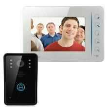 7 pulgadas de Video teléfono de la puerta Sistema de Intercomunicación Del Timbre de interfono Altavoz monitor puerta de intercomunicación cámara Impermeable DEL IR