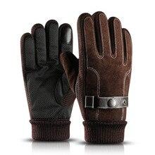 Зимние Мужские Кашемировые Кожаные Перчатки Толстые Теплые Мягкие Варежки Полный Палец Тактический Тепловой Спортивные Перчатки Лыжные Перчатки Для Вождения