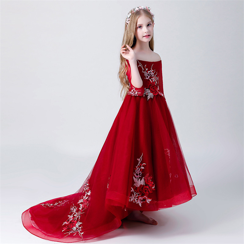 Children Girl Luxury Shoulderless long Tailing Pageant Dress Kids Teens 3-15yrs Wedding Party Birthday Appliques Flowers Dress Children Girl Luxury Shoulderless long Tailing Pageant Dress Kids Teens 3-15yrs Wedding Party Birthday Appliques Flowers Dress