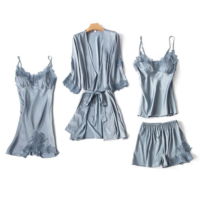 Pajama Sets 4 piece Ladies Sexy silk Tops + short Pants Night Women Nighties Nightwear Homewear women set big size Lace vintage
