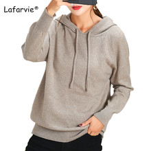 Lafarvie Autumn Winter Women Sweaters And Pullovers Hooded collar Long Sleeve Casual Basic Sweater Slim Solid Knitted Jumpers