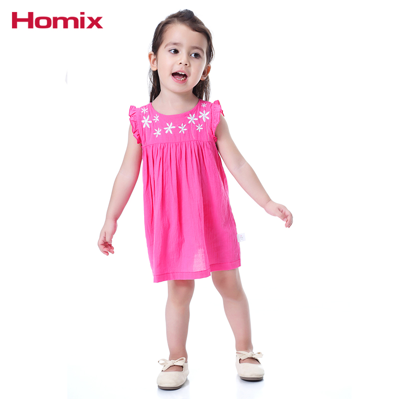 Homix Baby Girl Clothes 100% bawełna Summer Frill Sleeve Haftowane - Odzież dla niemowląt - Zdjęcie 3
