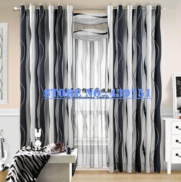 € 72.67 |2014 l\'arrivée de nouveaux rideau noir et blanc moderne pour les  ondes de salon salon rideau tissu imprimé maison de personnalisation  textile ...