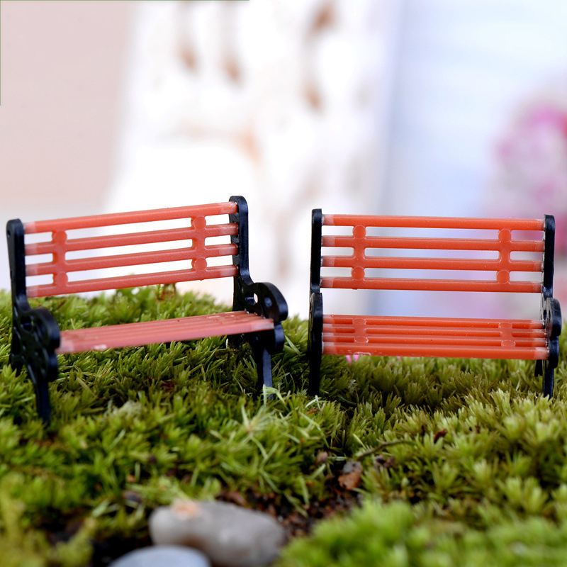 1pcs New Arrival Mini Garden Park Bench Craft Fairy Dollhouse Decor Outdoor Forestwoods Home Wedding Party DIY Decoration ...