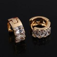 Модный дизайн, маленькие золотые серьги-кольца Huggie для женщин, Покрытые Кристаллами циркония, серьги, ювелирные изделия для женщин, мода