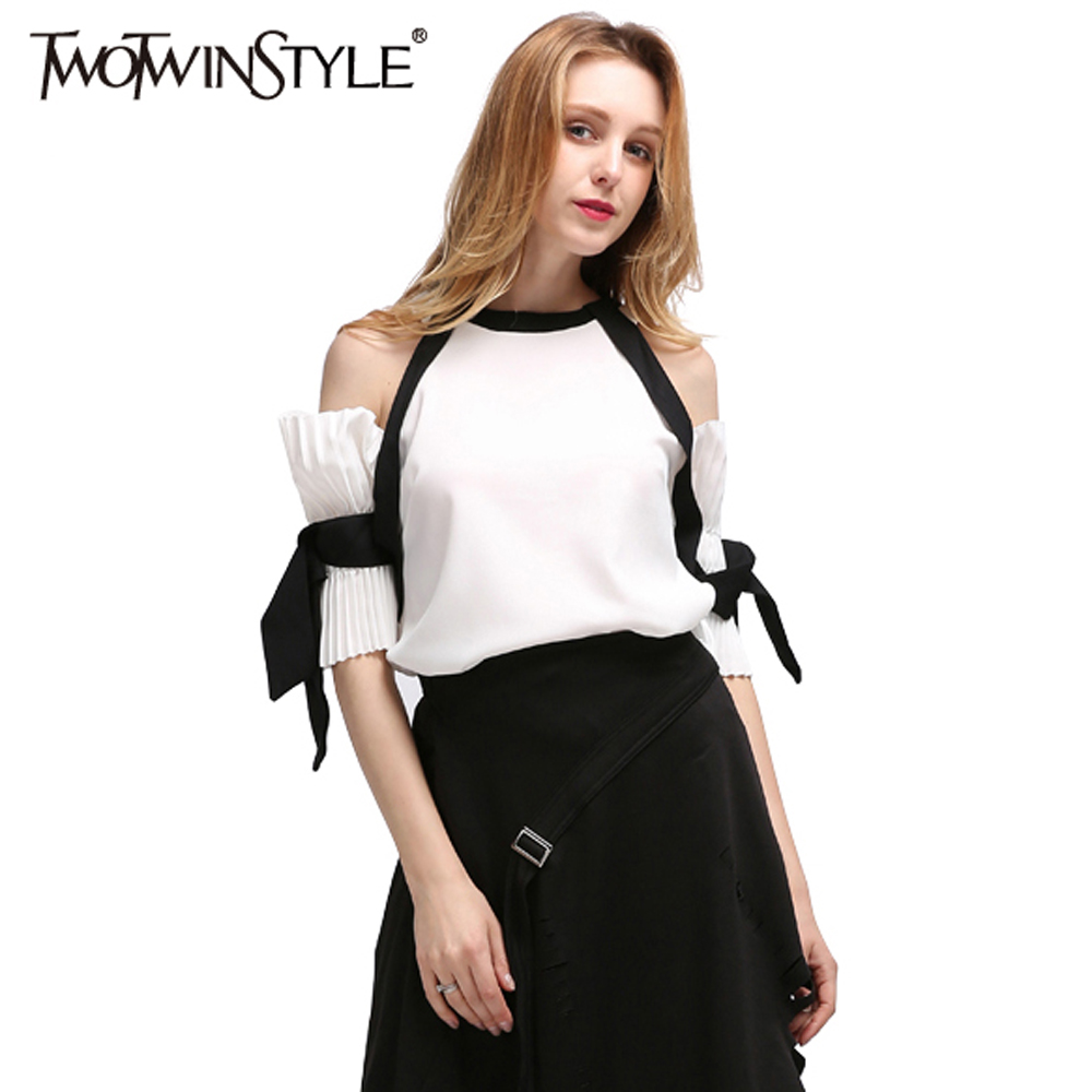 TWOTWINSTYLE Summer Sexy Off Shoulder Tops Female Blouses Tunic Pleated Flare Sleeve Chiffon Women Shirt Clothes Fashion Korean