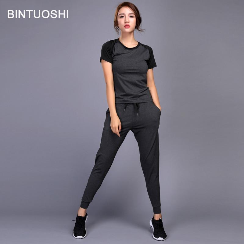 BINTUOSHI Women Running Set Jogging Clothes Gym Workout Fitness Training Yoga Sports T-Shirts+Pants Running Clothing Suit