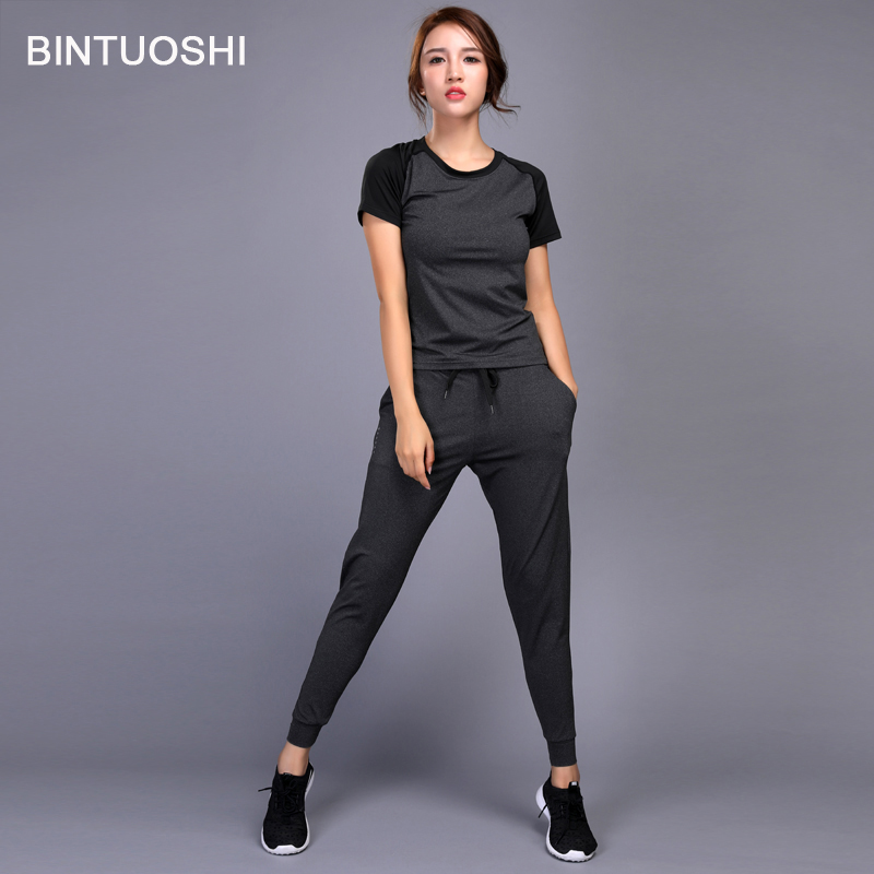 BINTUOSHI Women Running Set Jogging Clothes Gym Workout Fitness Training Yoga Sports T-Shirts+Pants Running Clothing Suit