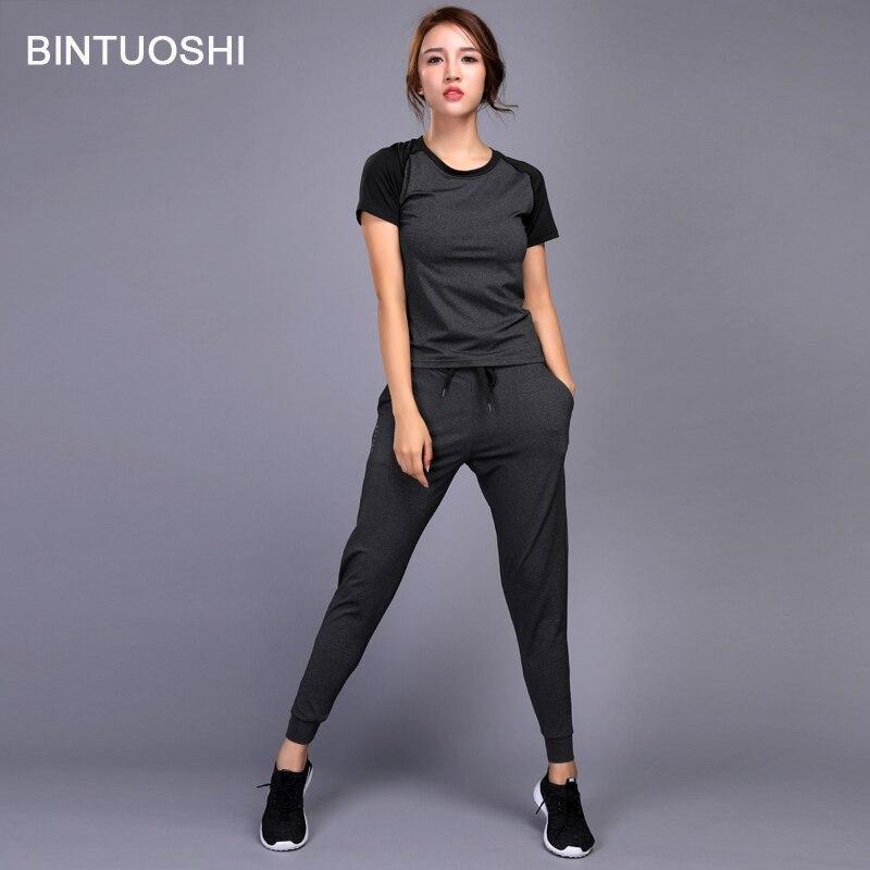 d0b75a350e4 Aliexpress.com  Comprar Conjunto de ropa para correr para mujer BINTUOSHI para  gimnasio entrenamiento Fitness entrenamiento Yoga deportes camisetas + ...