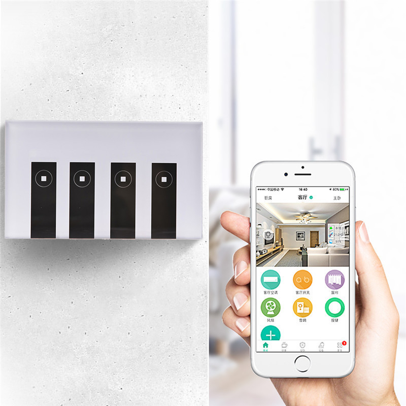 LAIDEYI US 4 Gang LED Touch WIFI Switch Wireless Wall Smart Work With Alexa Google APP EWELINK LED Smart Switch sonoff t1 us smart touch wall switch 1 2 3 gang wifi 315 rf app remote smart home works with amazon free ios and app ewelink