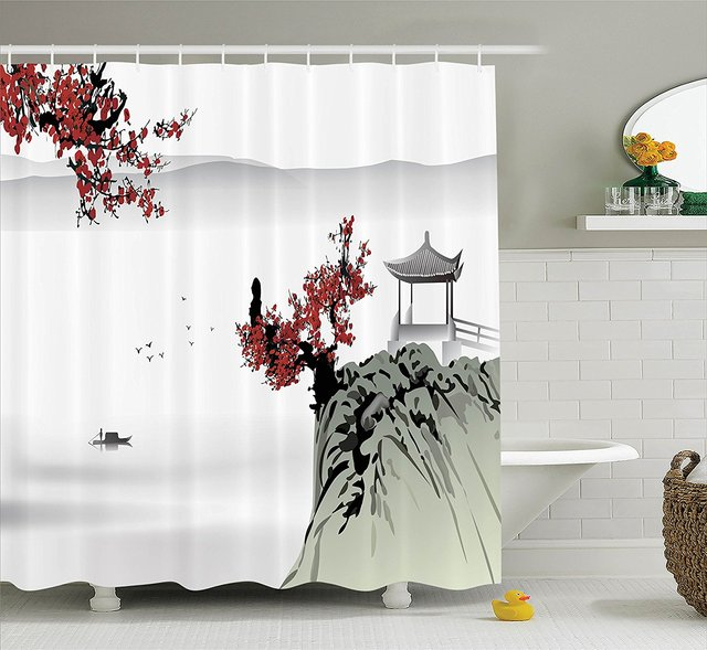 Memory Home Asian River Scenery With Cherry Blossoms And Boat Cultural Bathroom Accessories Polyester Fabric Shower