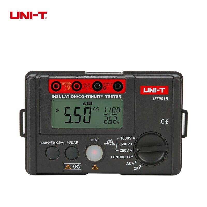 UNI-T UT501B testeur d'isolation résistance à l'isolation tension ca PI DAR mètre 250 V/500 V/1000 V 0% ~ 10% affichage compte 2000 faible Resis