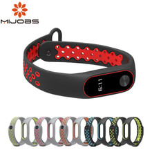 Mijobs Bracelet Strap Bracelet Colorful Strap For miband 2 Wristband Replacement Smart Band Accessories For Mi Band 2 Silicone