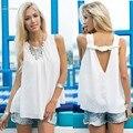Moda de Verão Sexy Tops Mulheres Chiffon Tops Solto Sem Encosto Sem Mangas Camisas Brancas Camisas Camis Camisole Vest Feminina