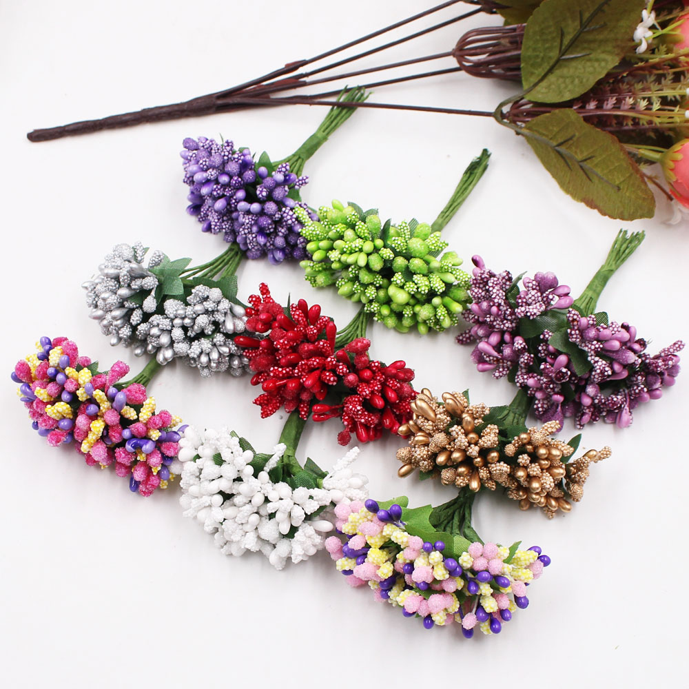 12Pcs/lot Handcraft Artificial Flowers Stamen Sugar Wedding Party Decoration DIY Wreath Gift Box Scrapbooking Cheap Fake Flowers(China)