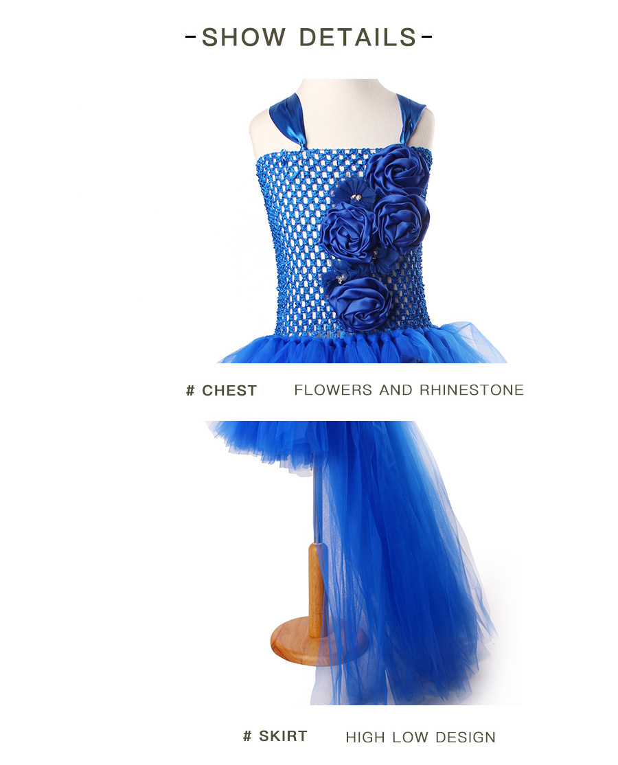 Royal Blue Flowers Girls Tutu Dress High Low Ice Princess Tulle Dress for Wedding Pageant Party Handmade Baby Photo Costume (9)