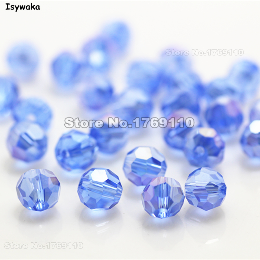 100pc New Jewelry Accessories Sky Blue AB Crystal Gemstone Beads 4x6mm