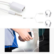 1PC White 3 5mm Earphone Headphone M 1 to 2 Dual for Audio Splitter Cable Adapter