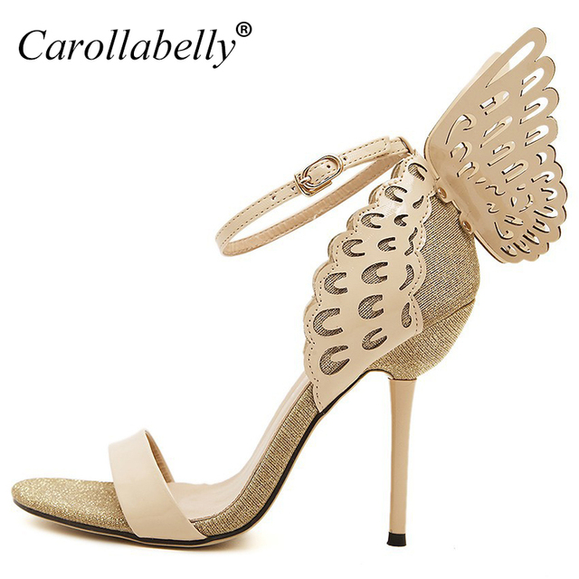 Women Sandals 2017 High Heels Pumps Colorful Butterfly Heeled Shoes Sexy Wedding Bridal