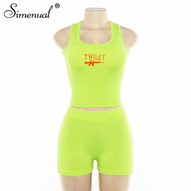Simenual Lettera Del Ricamo 2 Piece Set Donne Casual Al Neon di Colore Tute di Estate Streetwear Crop Top E Shorts Set Modo Caldo 5