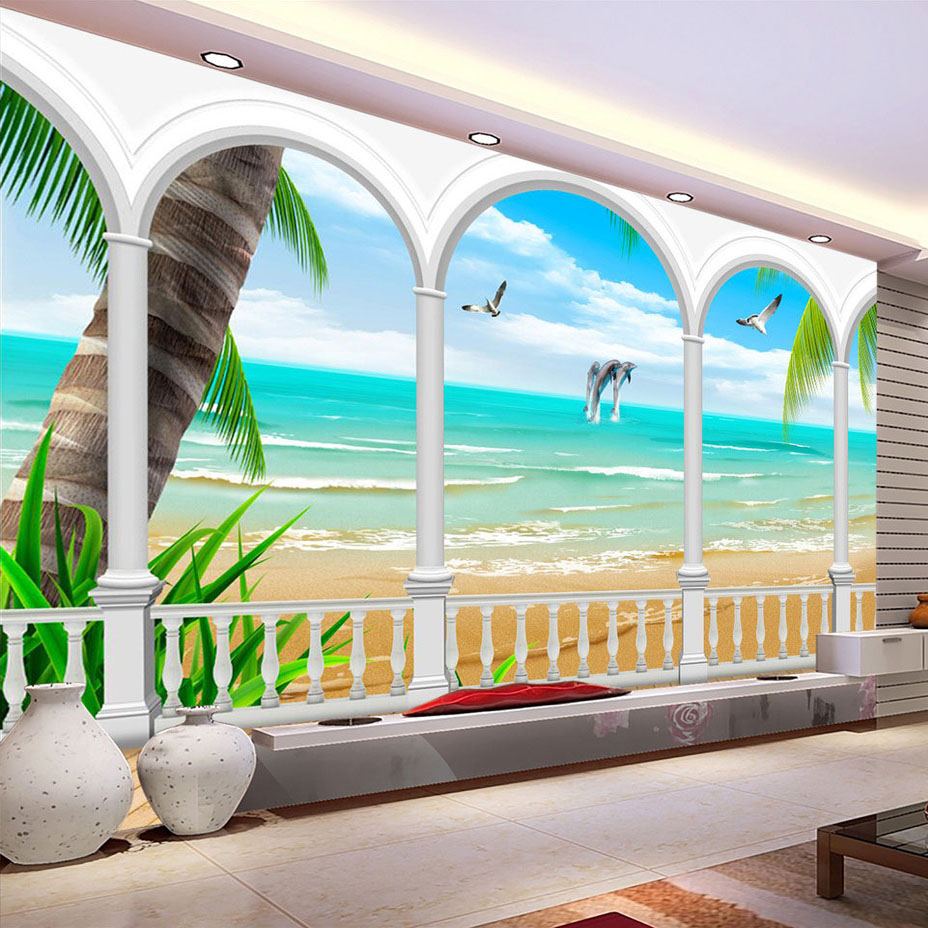Custom Mural Wallpaper Photo Seaview Roman Column Wall Decorations Living Room Bedroom Sofa TV Background Wallpaper Modern 3D  free shipping 3d stereo angel rome column fantasy wallpaper mural custom dining room children room background wallpaper