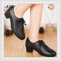 Customizable Peep Toe Low Heels Shoelace Women S Salsa Ballroom Tango Latin Dance Black Color Riser