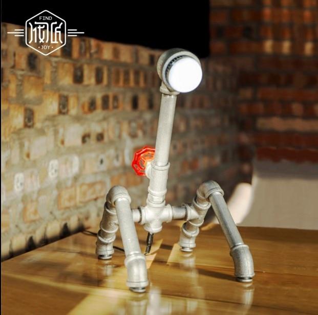 Lamparas Water Pipe Table Lamp Vintage For Bedroom Loft Industrial