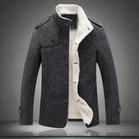 Winter Men's Coat Wool Blend Jacket 2018 New Fashion Fleece Lined Thick Warm Woolen Overcoat Male Wool Coat Peacoat Outerwear