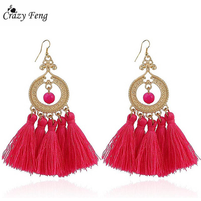 crazy feng 2018 fashion tassel earrings for women vintage halloween jewelry cotton fringe statement drop dangles