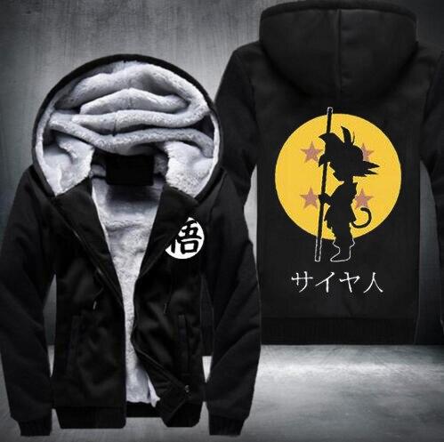 2016 Dragon Ball Animate font b Hoodie b font mens Thicken Fleece Zipper Jacket Super Saiyan