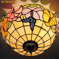 European Vintage Ceiling Lamp Stained Glass Flowers Butterfly Ceiling Light Balcony Kitchen Dinning Room Lights Dia30cm