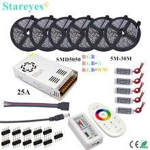 1 takım SMD 5050 RGB RGBW 300LED 12V IP20 IP65 su geçirmez LED şerit 5m 10m 15m 20m 25m 30m esnek şerit bant halat şeritler kiti
