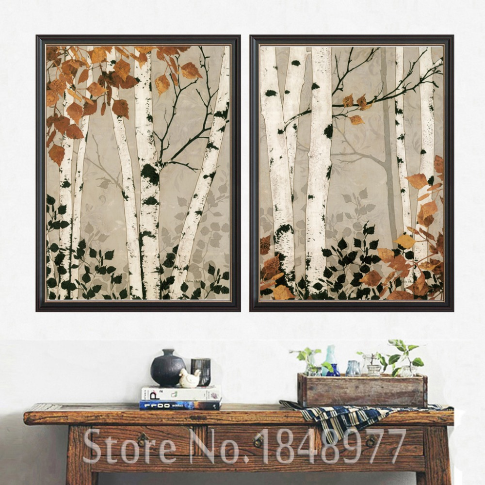 2 Piece Modern Home Decor Abstract Tree Painting Birch Trees Paintings Pictures Black Br ...