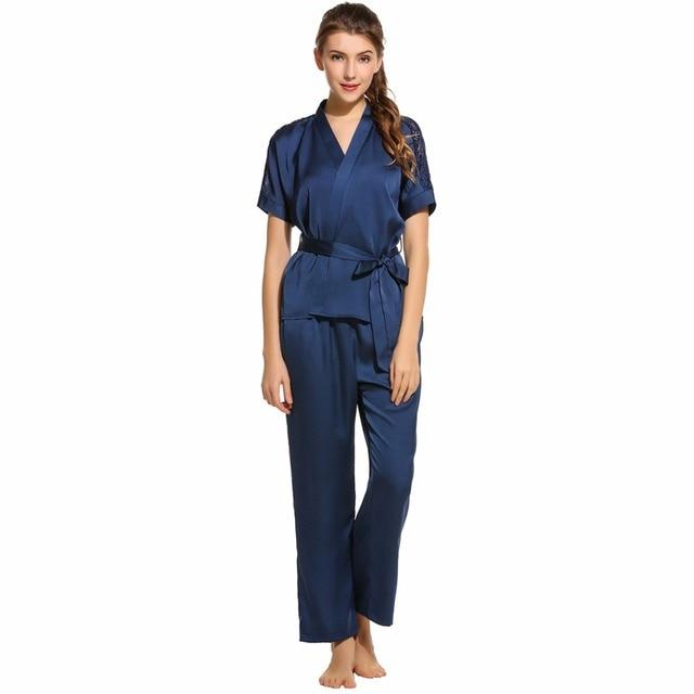3d4ac1bb9e Ekouaer elegante conjuntos de pijama Sexy Kimono de satén con cuello en V  de la parte