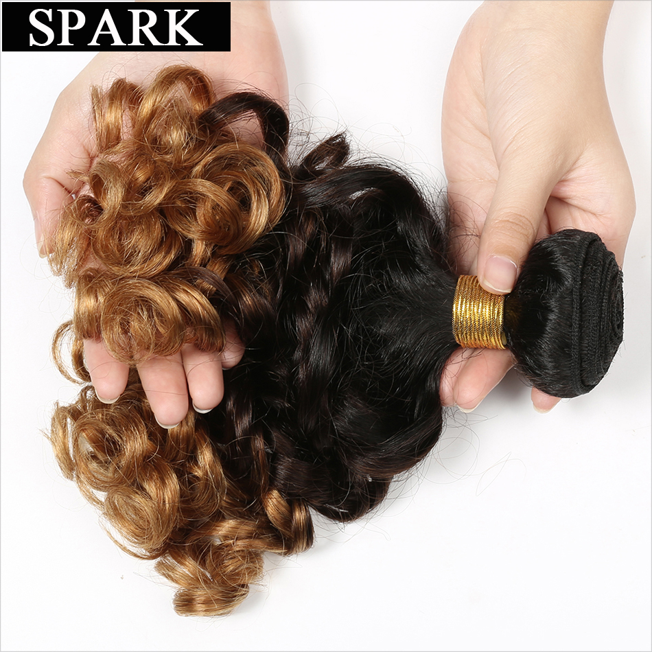"""Spark 1b/4/27 Ombre Peruvian Bouncy Curly Hair 1PC 3 Tone non Remy Human Hair Weave Bundles 8""""-26"""" Hair Extensions Free Shipping"""