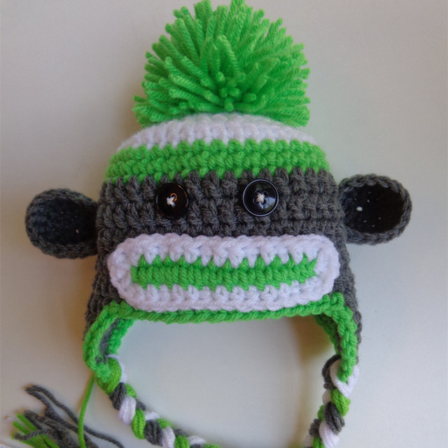 US $10 99 |Gray and Green Sock Monkey Pom Pom Hat,Handmade Knit Crochet  Baby Boy Girl Animal Hat,Child Winter Hat,Toddler Kids Photo Prop-in Hats &