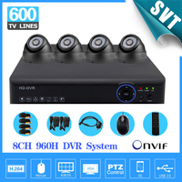 8channel CCTV Security Camera System 8CH DVR 960h Hd Recording 4ch Indoor Dome Camera Kit Color