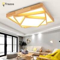 TRAZOS 110 V 220 V светодио дный потолочные светильники Nordic Стиль круглый потолочная лампа для Спальня деревянный Кухня осветительное оборудовани