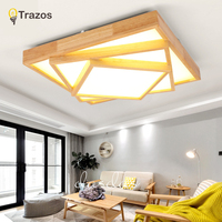 TRAZOS 110v 220V LED Ceiling Lights Nordic Style Round Ceiling Mounted Lamp For Bedroom Wooden Kitchen Lighting Fixture