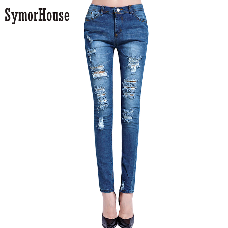 2017 New Women Jeans Ripped Holes Fashion Straight Full Length High Waist Famale Washed Denim Pants Cotton Trousers spring new fashion cotton jeans women loose high waist washed vintage big hole ripped ankle length denim straight pants mz1535