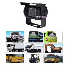 """Image 5 - 4x 4pin 18 led ir visão noturna invertendo estacionamento backup câmera + 9 """"lcd 4ch split monitor para ônibus caminhão motorhome 12 v 24 v"""