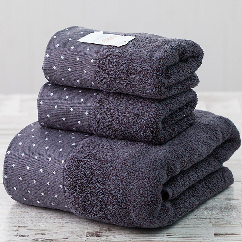 2pcs set 100 cotton absorbent towel set men dot 1pcs for Mens bath set