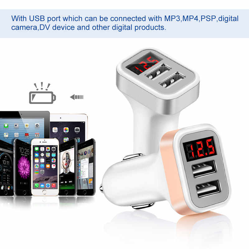 2.1A Dual 2 USB Car Charger LED Digital Display For Xiaomi Huawei Fast Charge Adapter 1M 2M Micro USB Cable Mobile Phone Charger