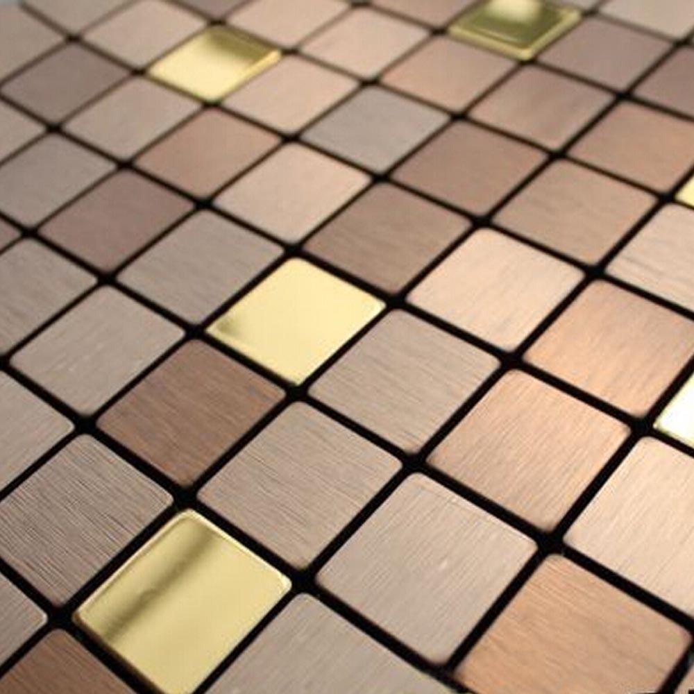 Popular copper tile backsplash buy cheap copper tile for Plaque de metal adhesive