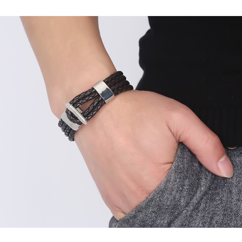 Mens Braided Leather Rope Bracelet in Black Cuff Bangle with Stainless Steel Clasp Male Jewelry Braslet Decorate Accessories